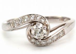 18k White Gold Twist Shoulders Diamond Ring 0.43 Carats