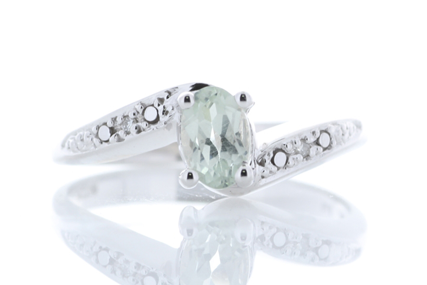 9ct White Gold Diamond And Green Amethyst Ring