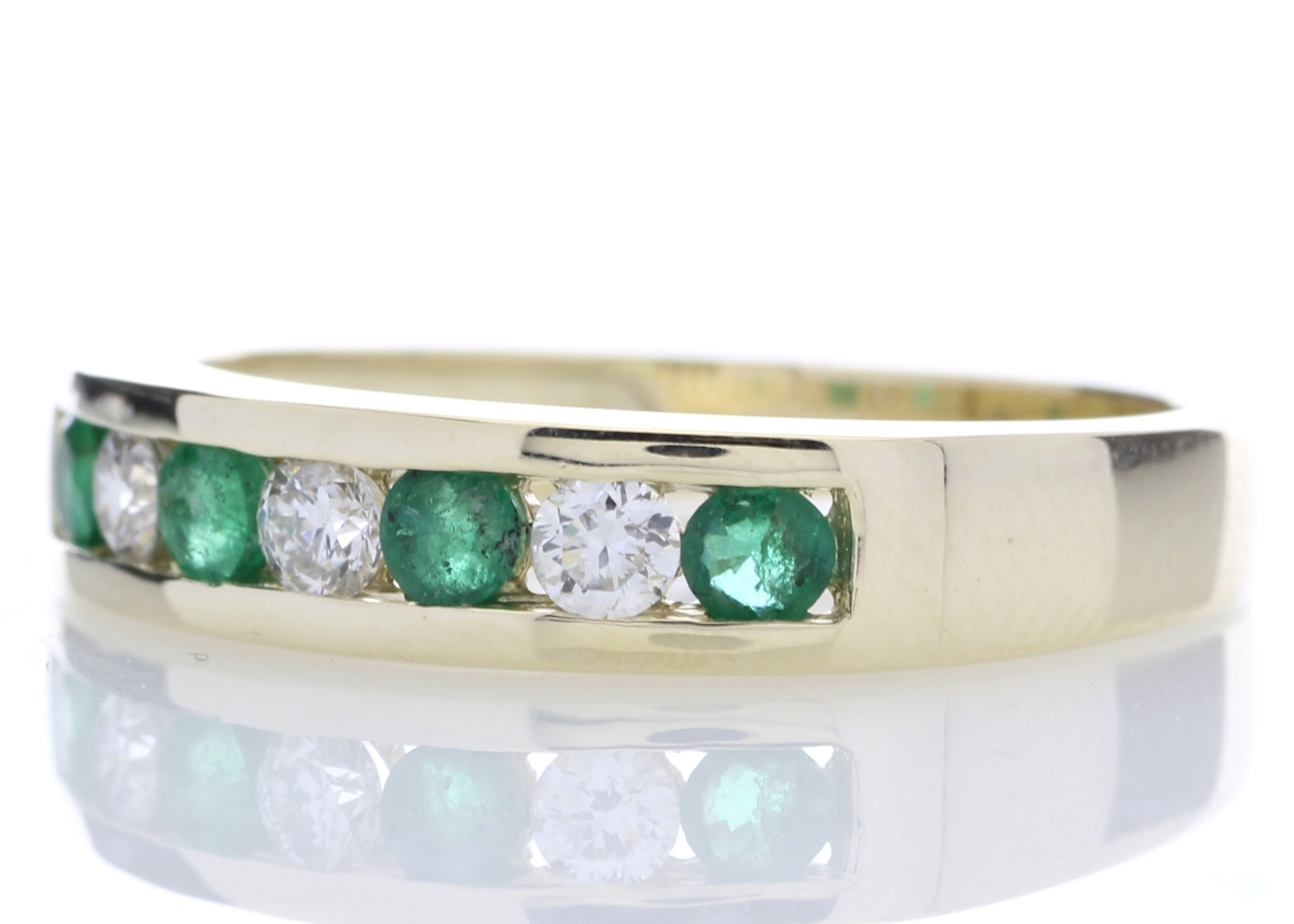 9ct Yellow Gold Channel Set Semi Eternity Diamond And Emerald Ring 0.25 Carats - Image 2 of 5