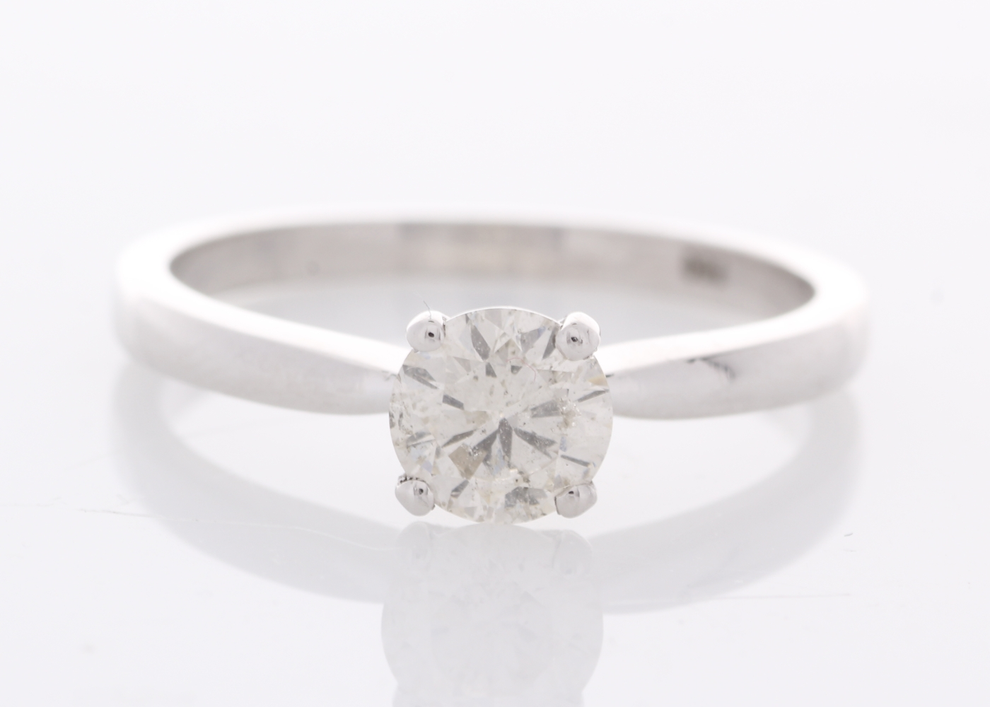 18k White Gold Prong Set Diamond Ring 0.57 Carats