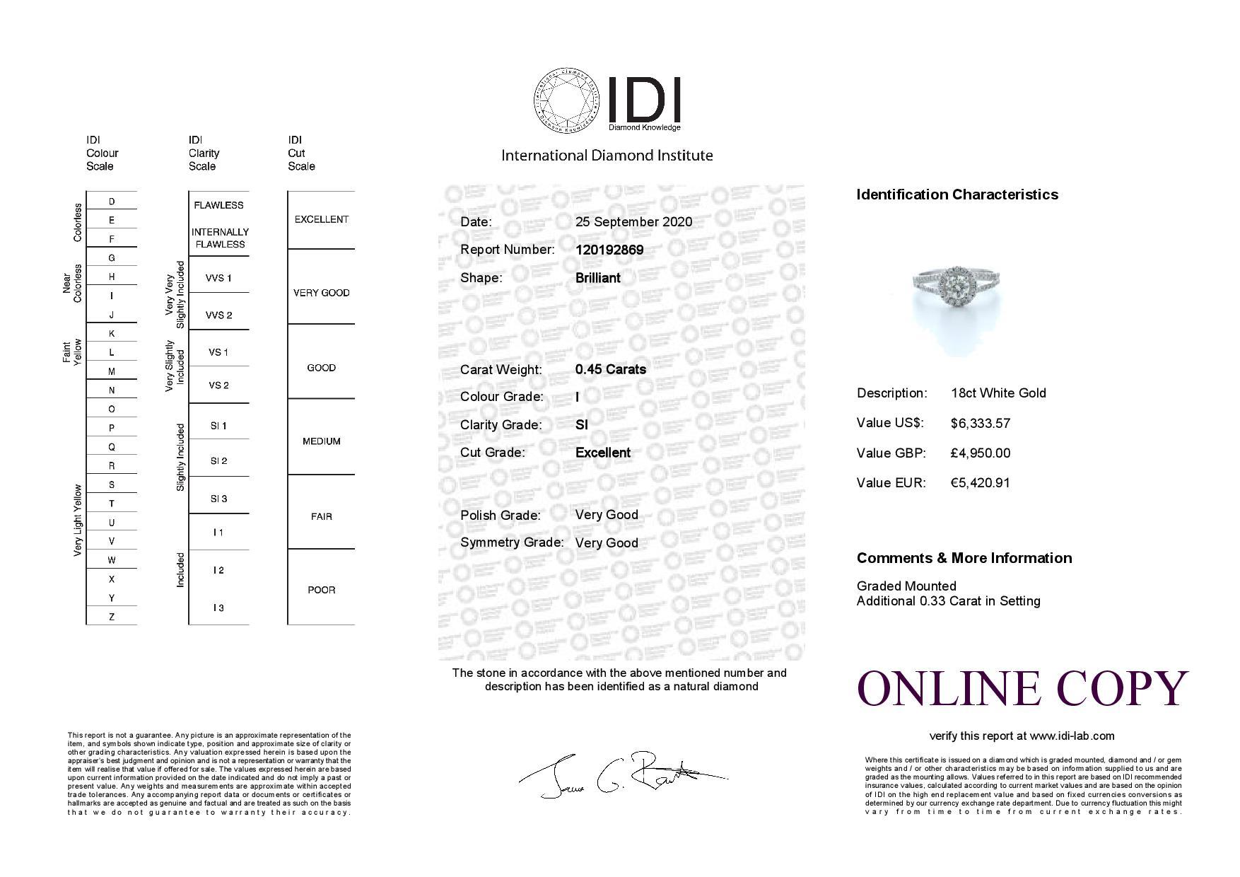 18k White Gold Single Stone With Halo Setting Ring 0.78 (0.45) Carats - Image 5 of 5