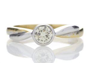 18k Single Stone Rub Over Set Diamond Ring 0.45 Carats