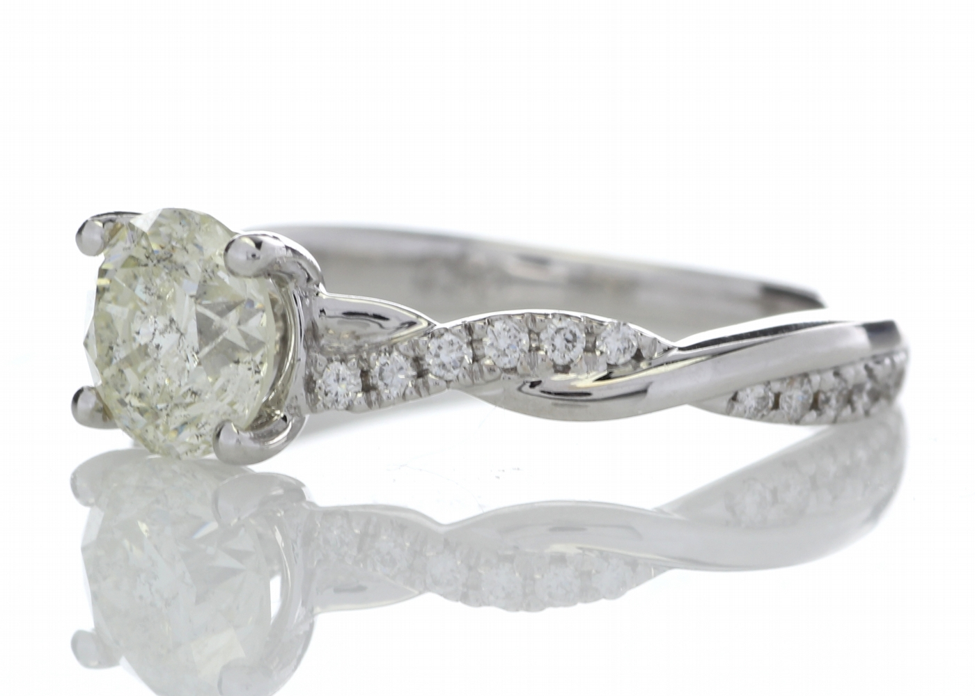 18k White Gold Diamond Ring With Waved Stone Set Shoulders 1.22 Carats - Image 2 of 5