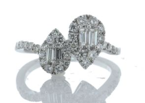 18k White Gold Double Pear Shape Cluster Diamond Ring 0.83 Carats