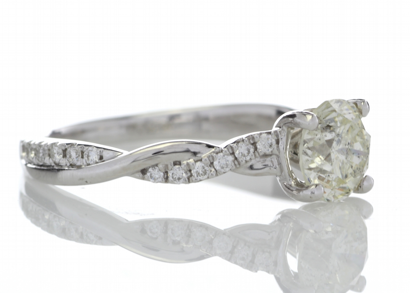 18k White Gold Diamond Ring With Waved Stone Set Shoulders 1.22 Carats - Image 4 of 5