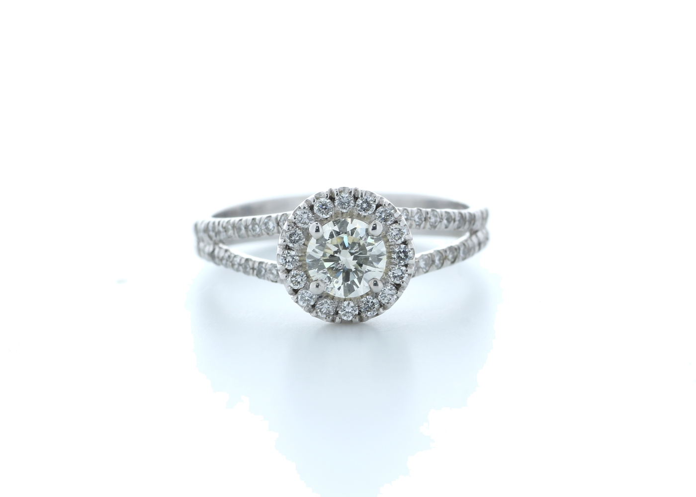 18k White Gold Single Stone With Halo Setting Ring 0.78 (0.45) Carats