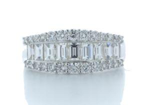 18k White Gold Channel Set Semi Eternity Diamond Ring 4.10 Carats
