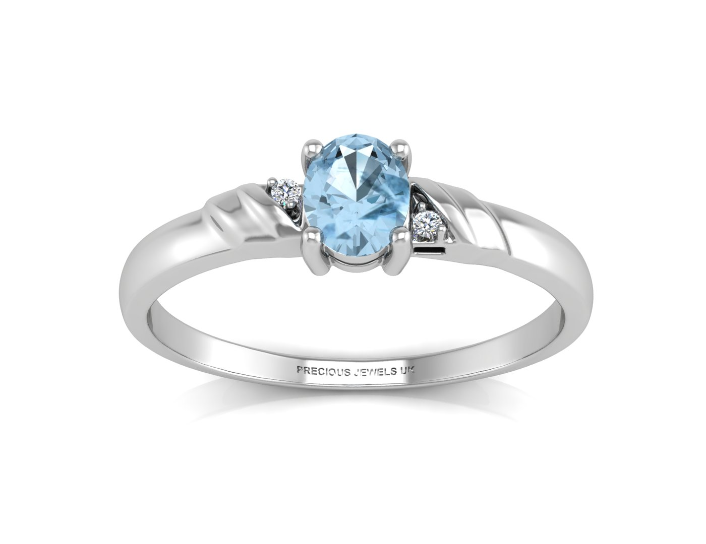 9ct White Gold Diamond And Blue Topaz Ring - Image 3 of 5