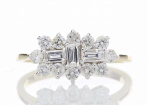 18k Yellow Gold Boat Shape Diamond Cluster Ring 1.00 Carats