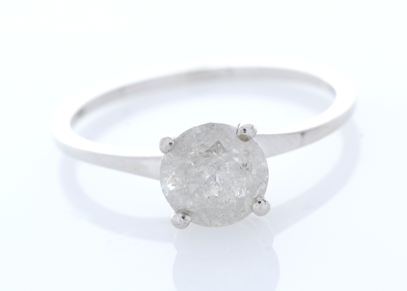 18k White Gold Wire Set Diamond Ring 1.05 Carats - Image 3 of 4
