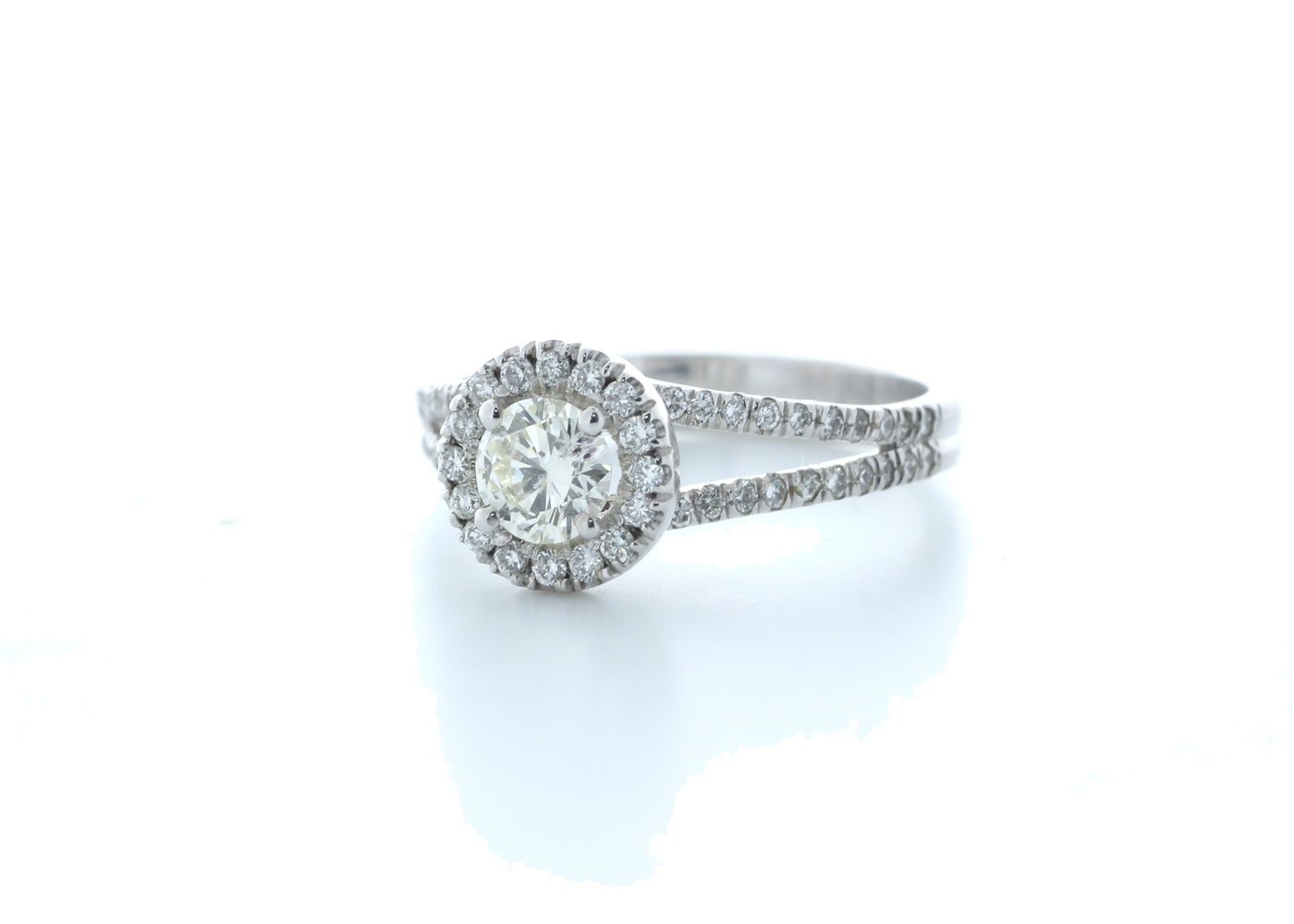 18k White Gold Single Stone With Halo Setting Ring 0.78 (0.45) Carats - Image 2 of 5