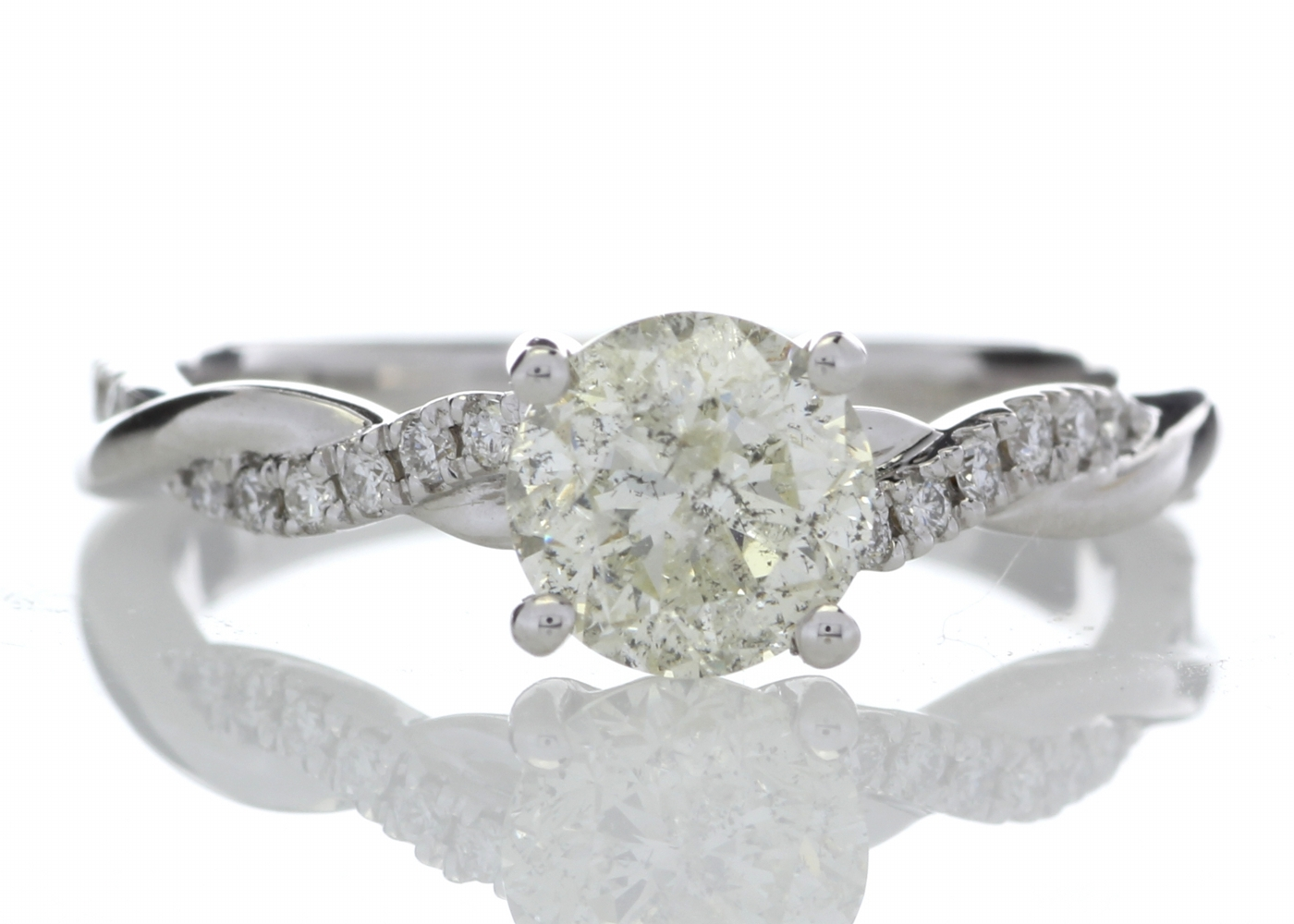 18k White Gold Diamond Ring With Waved Stone Set Shoulders 1.22 Carats