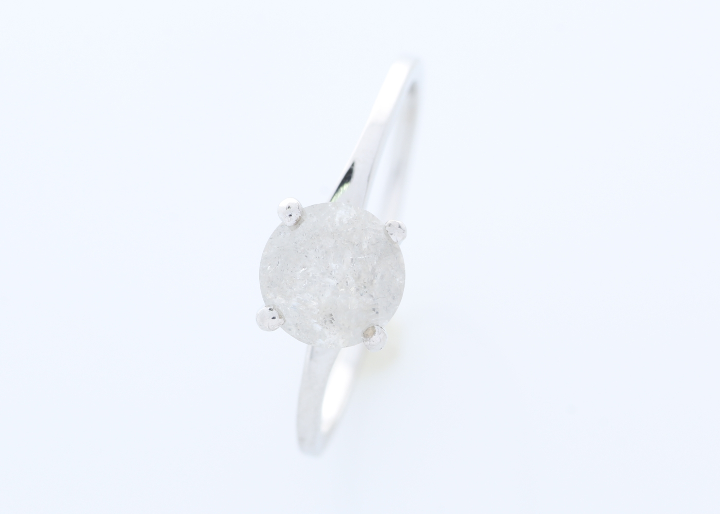 18k White Gold Wire Set Diamond Ring 1.05 Carats