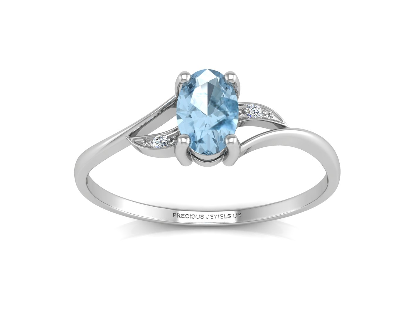 9ct White Gold Diamond And Blue Topaz Ring - Image 3 of 4