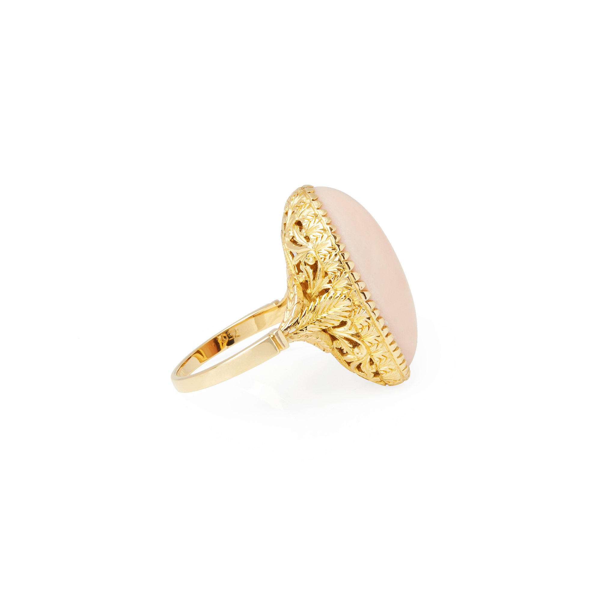 Unbranded 18ct Yellow Gold Pink Coral Ring - Image 5 of 6