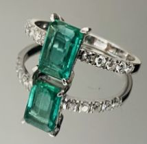 1.13 Carats Zambian Emerald Natural Diamonds & 18k White Gold