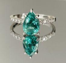 1.48 Carats Zambian Emerald With Natural Diamonds & 18k White Gold