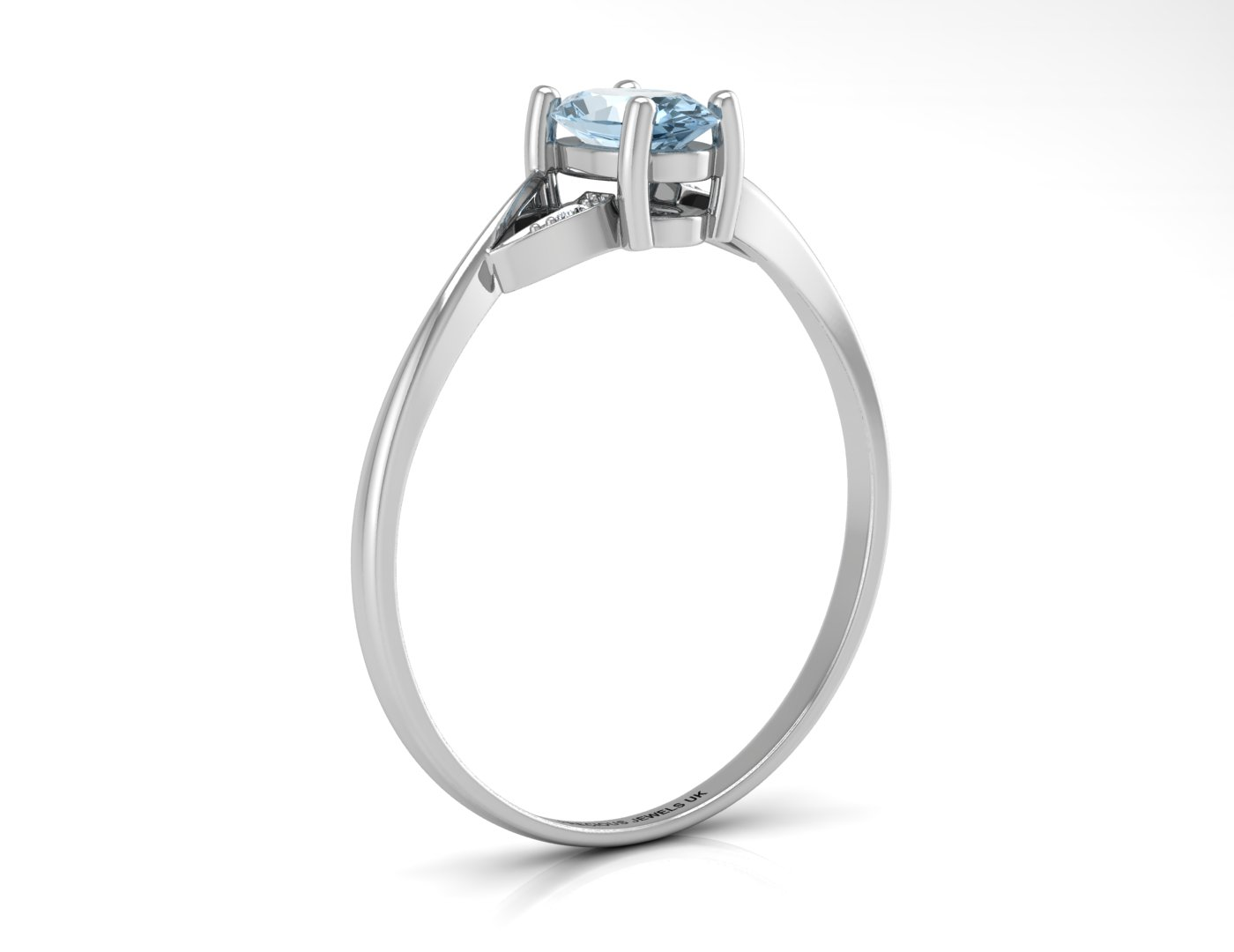 9ct White Gold Diamond And Blue Topaz Ring - Image 2 of 4