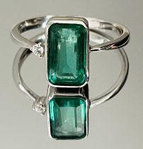 1.45 Carats Zambian Emerald Natural Diamonds & 18k White Gold