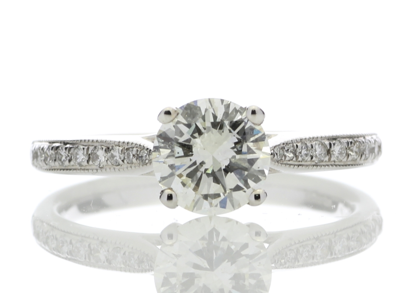18ct White Gold Diamond Ring With Stone Set Shoulders 1.15 Carats