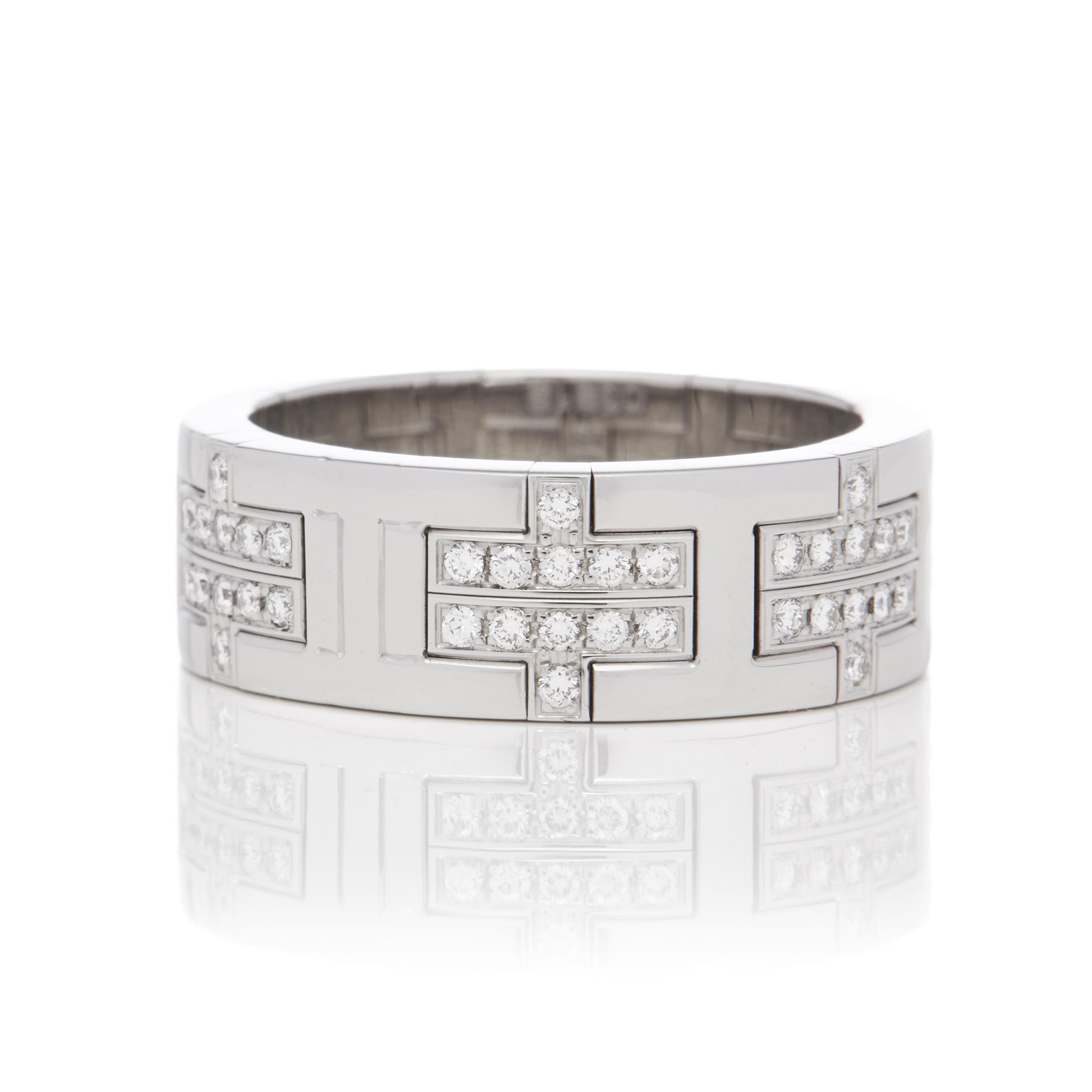 Hermes 18ct White Gold Kilim Diamond Ring - Image 8 of 8