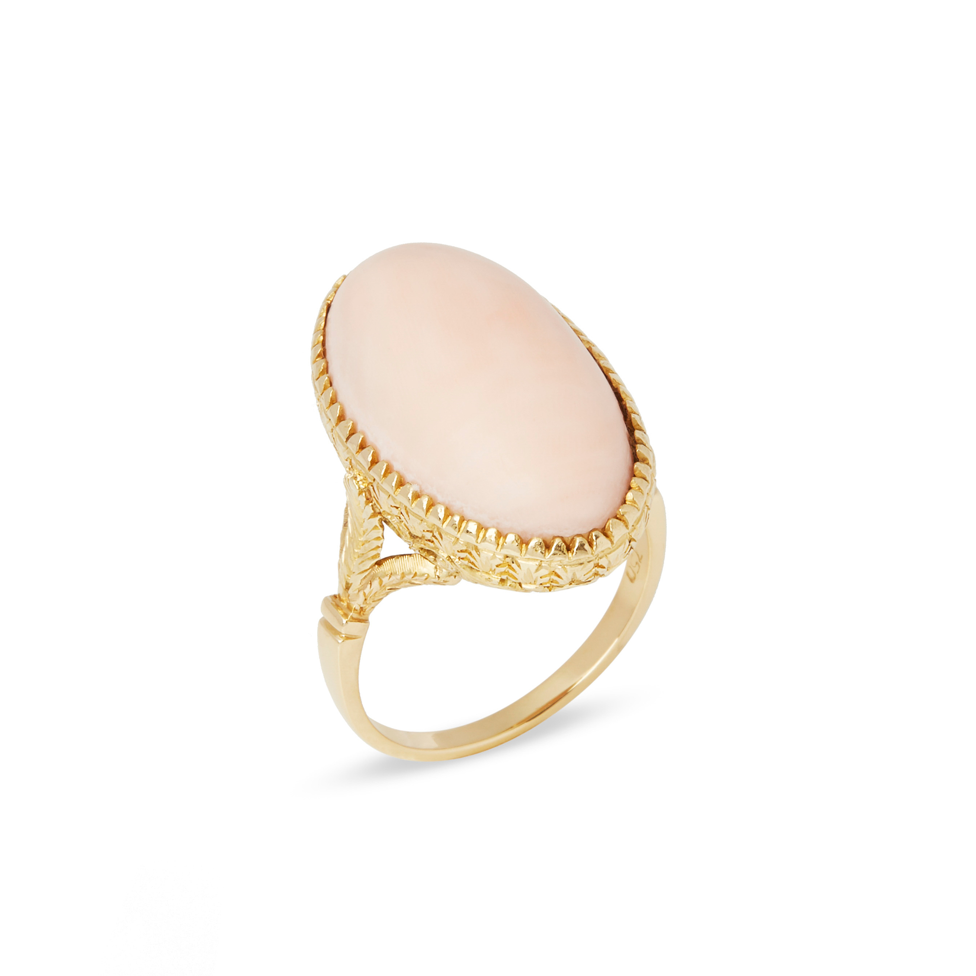 Unbranded 18ct Yellow Gold Pink Coral Ring