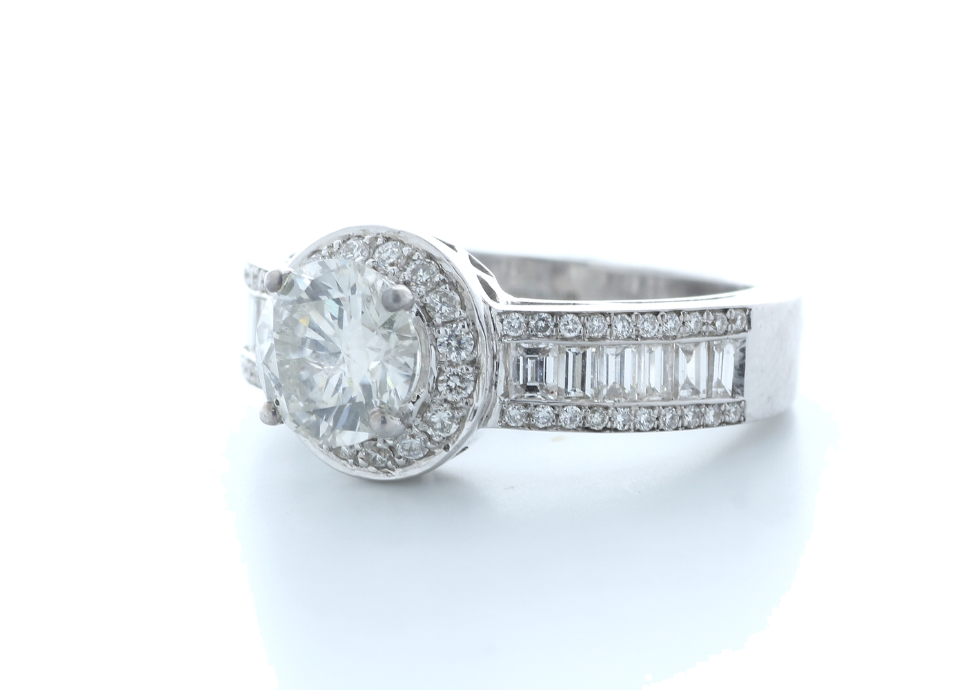 18ct White Gold Single Stone With Halo Setting Ring 2.62 (1.22) Carats - Image 2 of 5