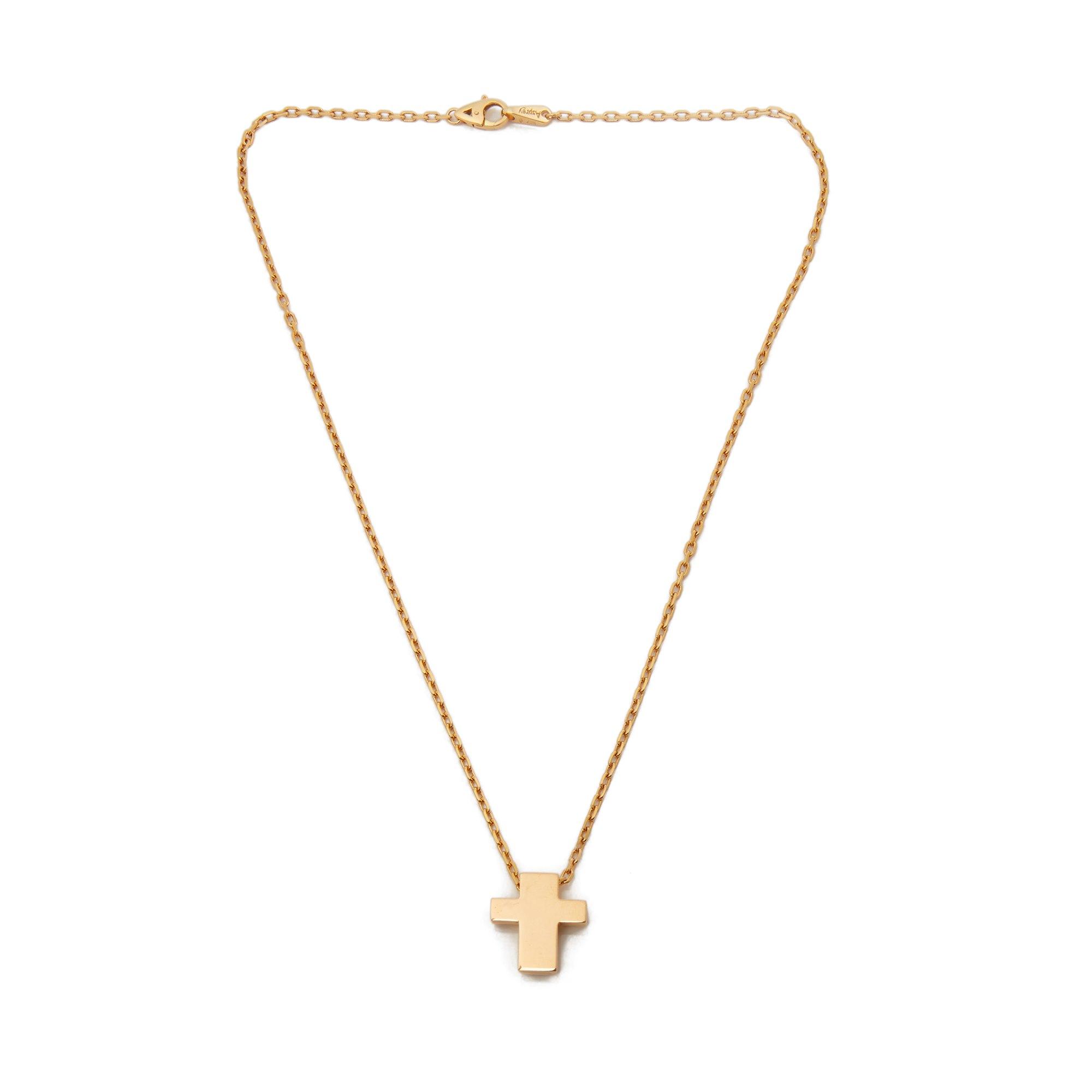 Asprey 18k Yellow Gold Cross Pendant Necklace - Image 4 of 8