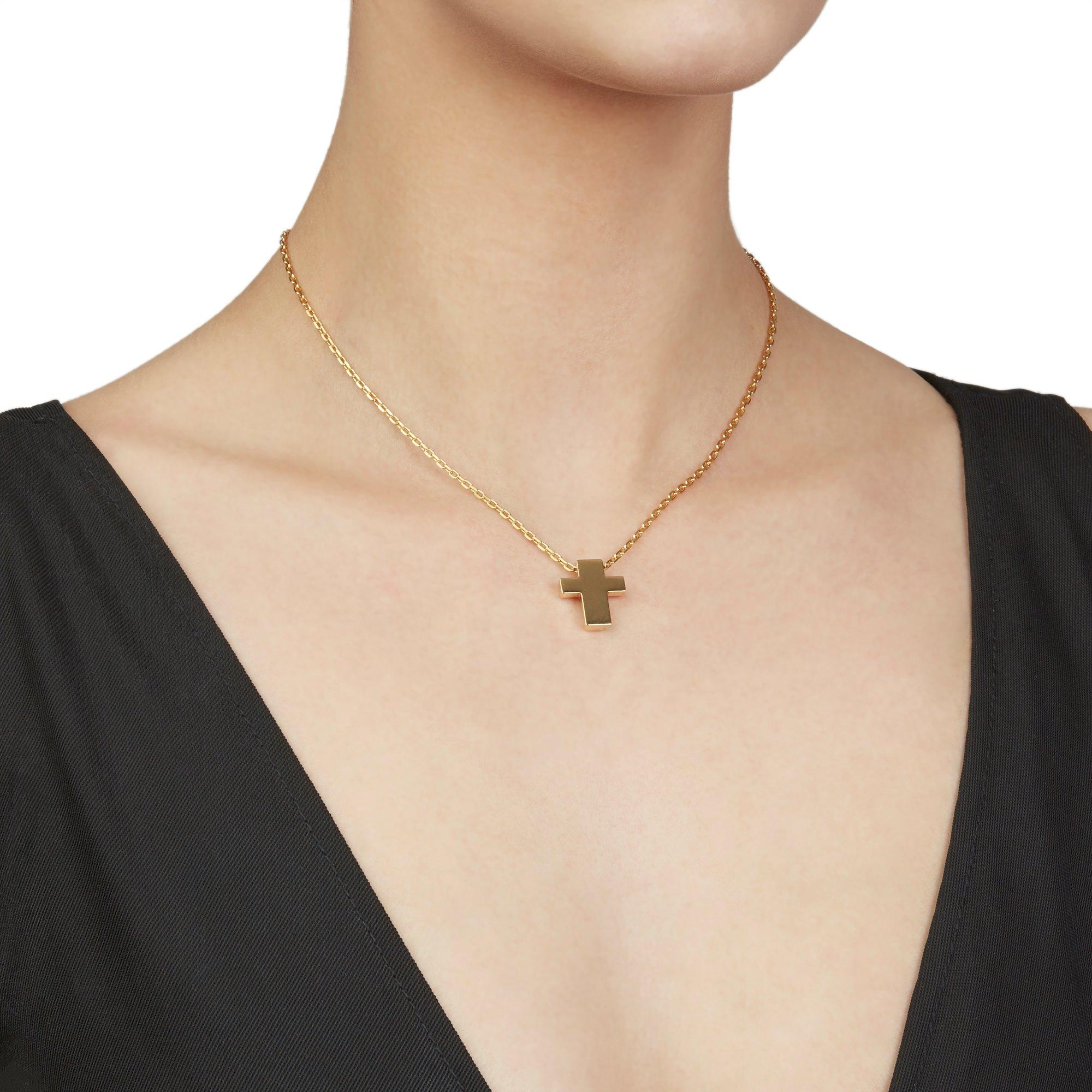 Asprey 18k Yellow Gold Cross Pendant Necklace - Image 2 of 8