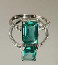 2.49 Cts Zambian Emerald With Natural Diamonds & 18k White Gold