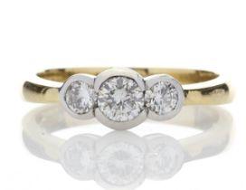 18ct Three Stone Rub Over Set Diamond Ring 0.65 Carats
