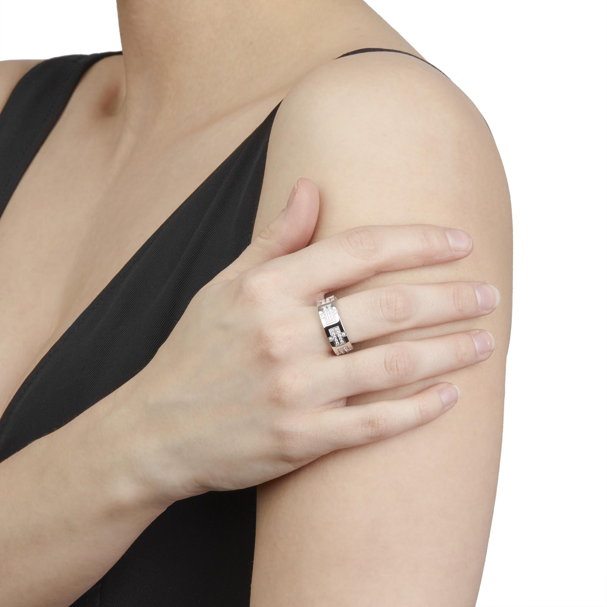 Hermes 18ct White Gold Kilim Diamond Ring - Image 2 of 8