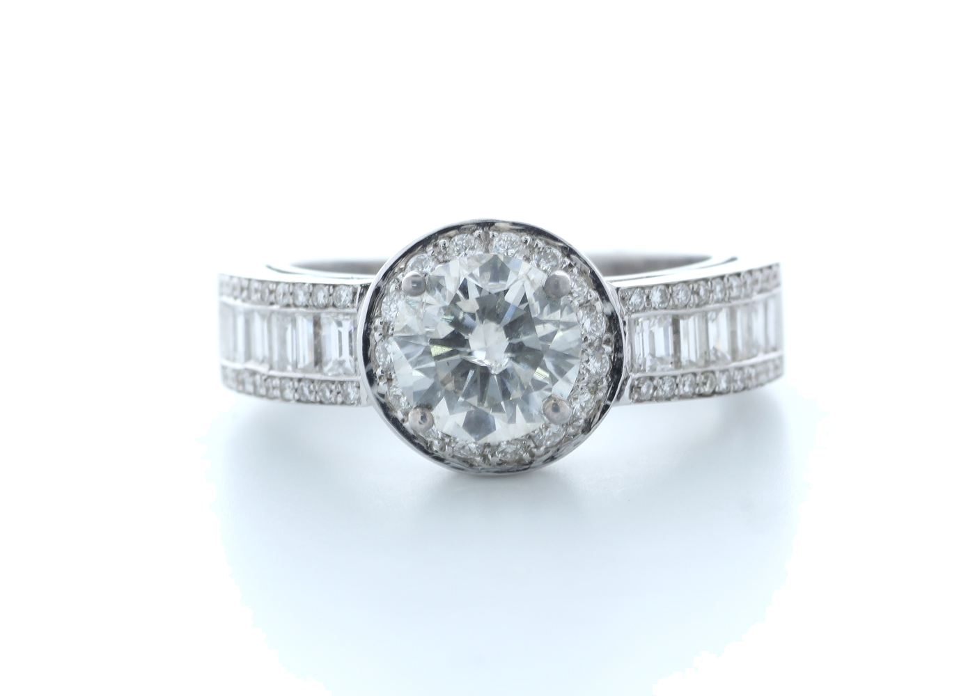 18ct White Gold Single Stone With Halo Setting Ring 2.62 (1.22) Carats