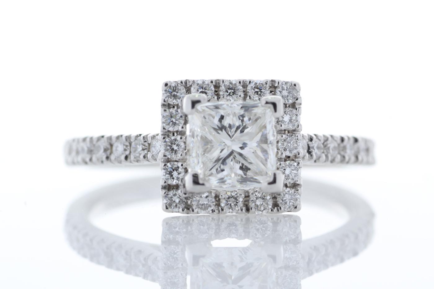 18ct White Gold Halo Set Princess Cut Diamond Ring 1.36 Carats