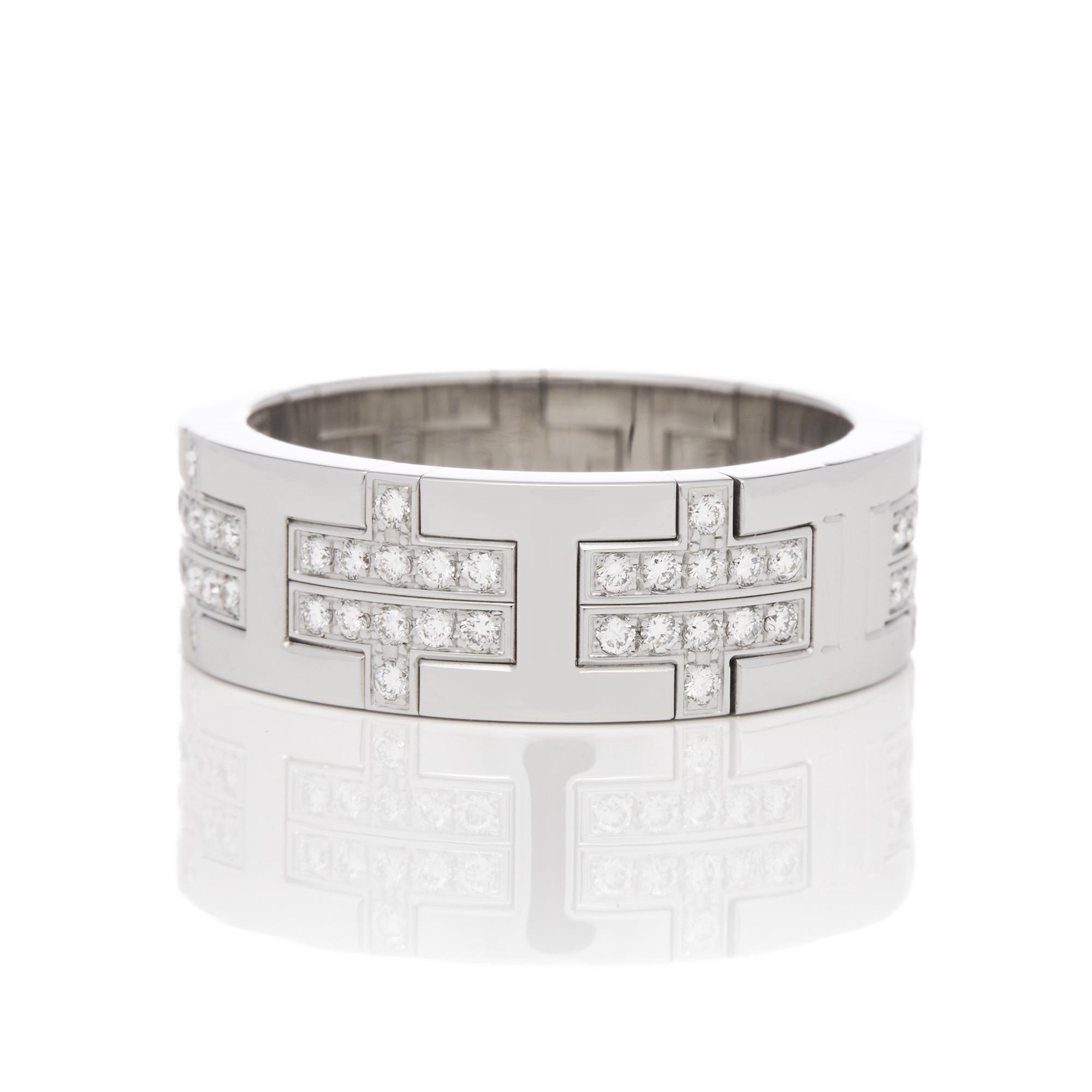 Hermes 18ct White Gold Kilim Diamond Ring - Image 7 of 8