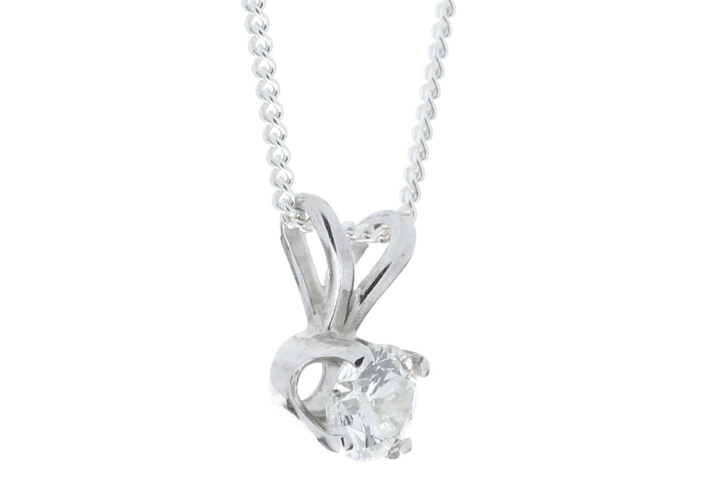 9ct White Gold Single Stone Claw Set Diamond Pendant 0.20 Carats - Image 2 of 5