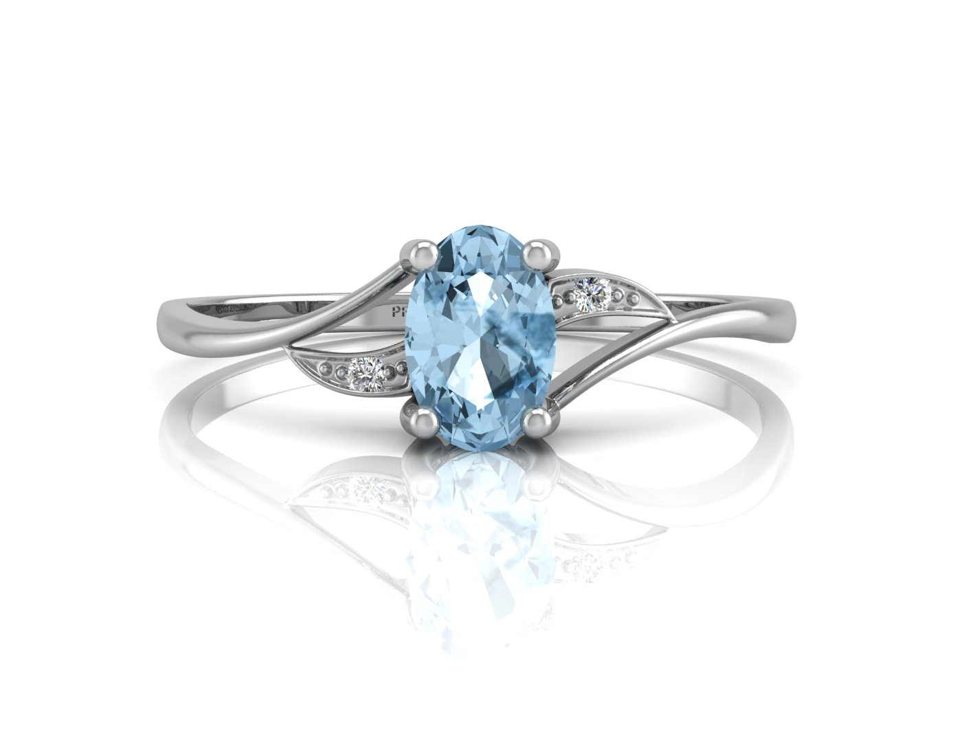 9ct White Gold Diamond And Blue Topaz Ring - Image 4 of 4