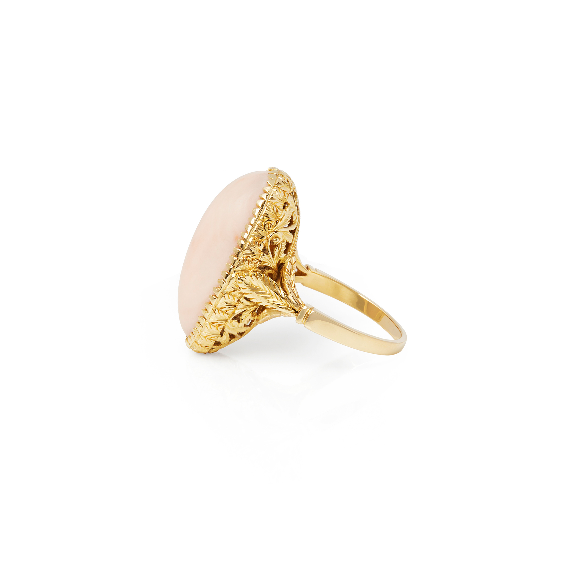 Unbranded 18ct Yellow Gold Pink Coral Ring - Image 4 of 6