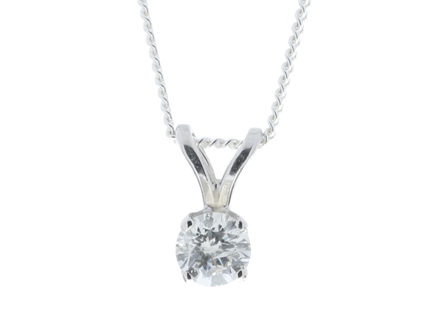9ct White Gold Single Stone Claw Set Diamond Pendant 0.20 Carats