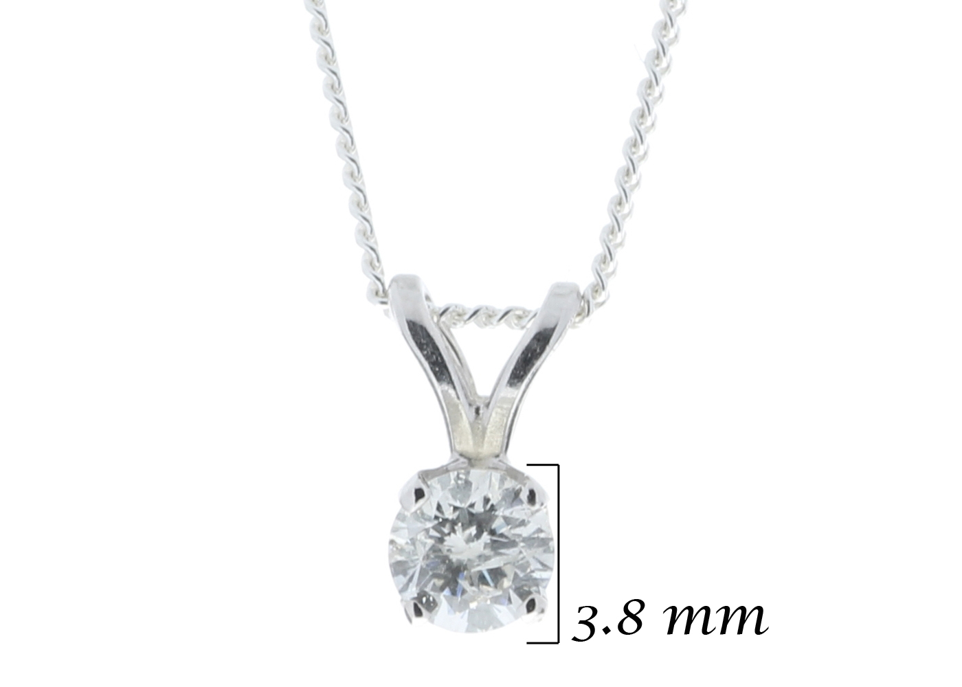 9ct White Gold Single Stone Claw Set Diamond Pendant 0.20 Carats - Image 5 of 5