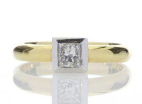 18ct Princess Cut Rub Over Diamond Ring 0.45 Carats