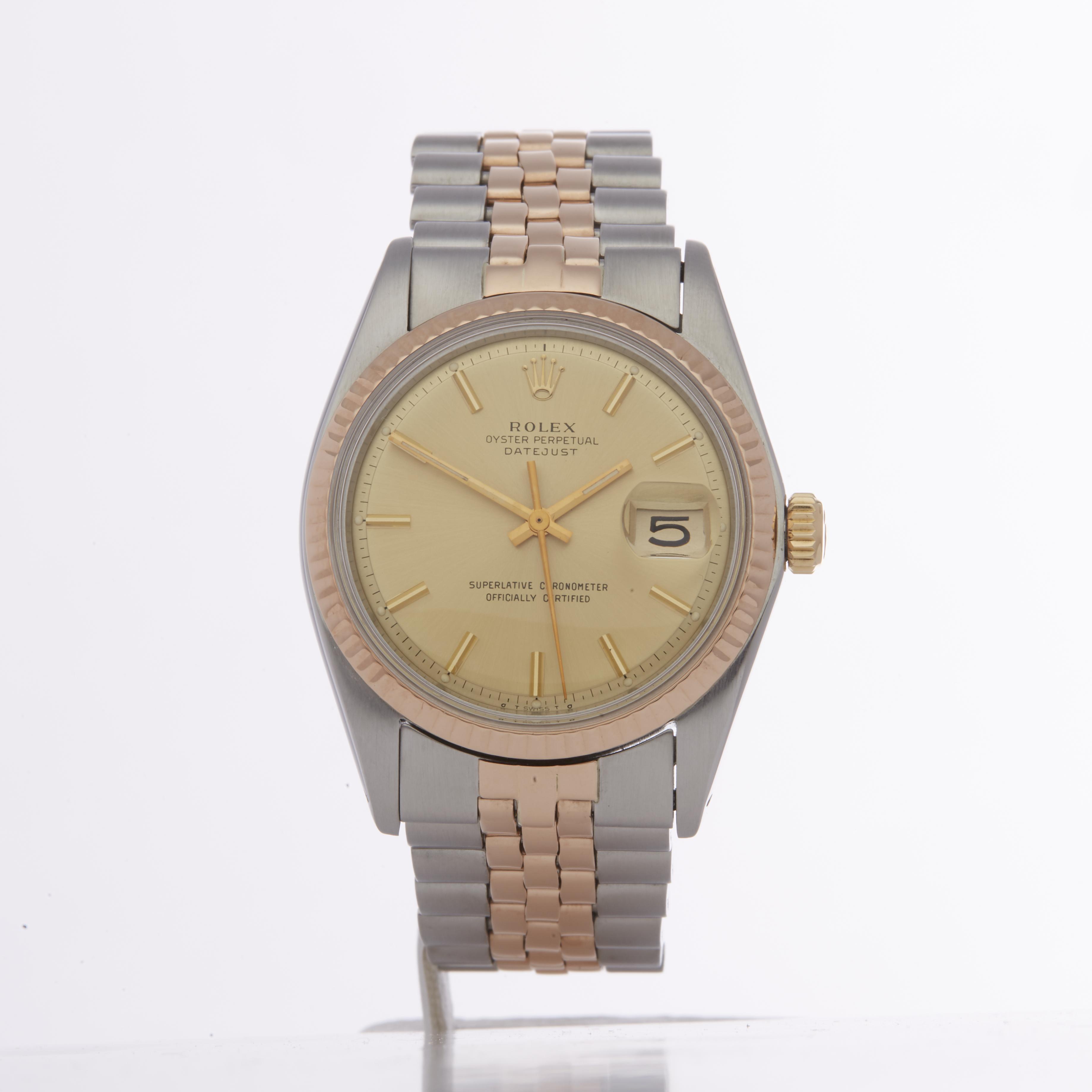 Rolex Datejust 36 1601 Men Rose Gold & Stainless Steel Watch