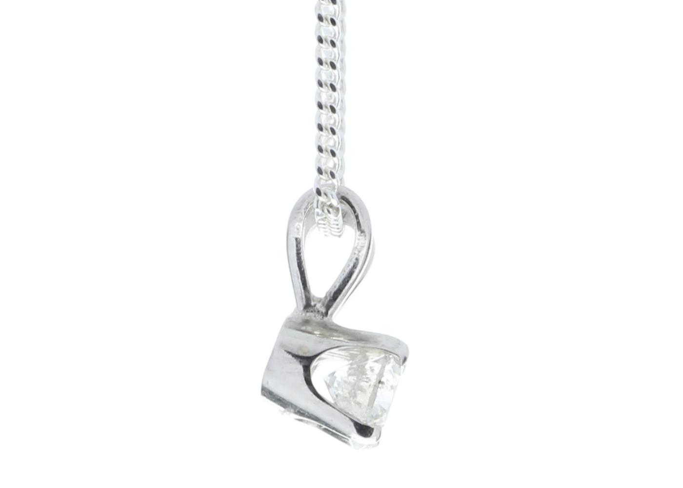 9ct White Gold Single Stone Claw Set Diamond Pendant 0.20 Carats - Image 3 of 5