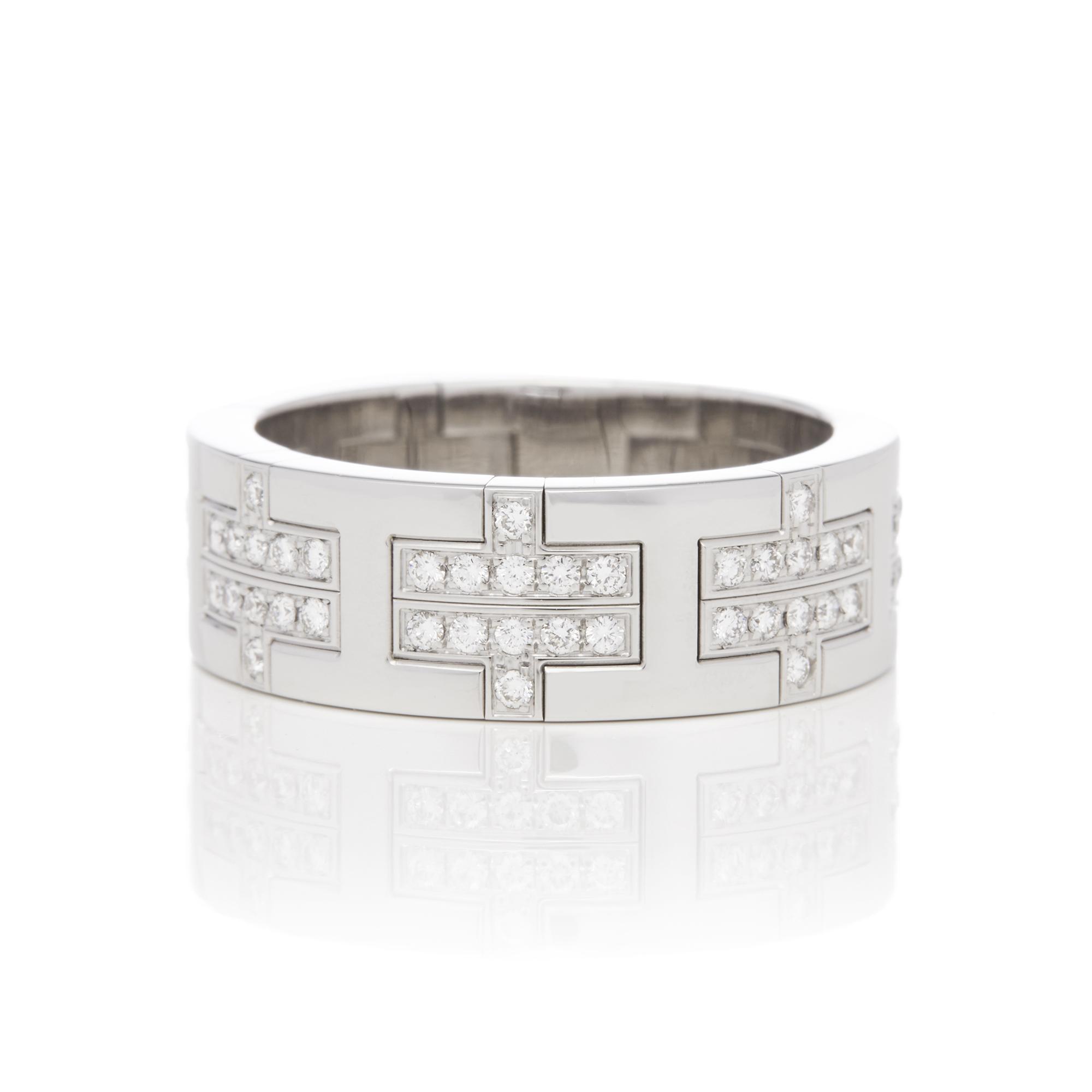 Hermes 18ct White Gold Kilim Diamond Ring - Image 6 of 8