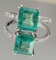 2.16 Carats Zambian Emerald With Natural Diamonds & 18k White Gold