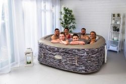 (R8D) 1x Clever Spa Sorrento 6 Person With Multi Coloured Lights RRP £650. (1.85M x 1.85M x 0.65 Hi