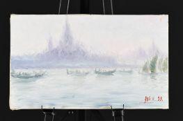 Oil on Canvas Gondolas in Venice by Roberto Masia