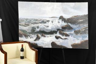 """Oil on Canvas by Italian Artist Di Giulio """"Mareggiata"""""""