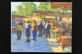 "Original Painting by John Mackie ""Saturday Market Ronda"""