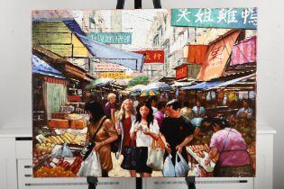 """Original Painting by Tony Rome """"Ladies Market Hong Kong"""""""